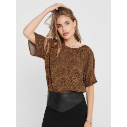 JDY PEARL S/S TOP EATHER BR